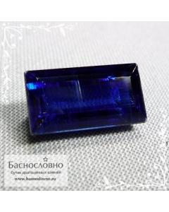 Натуральный бархатно-синий кианит (дистен) из Непала огранка багет 15x8мм 9.41 карат (Драгоценный камень)