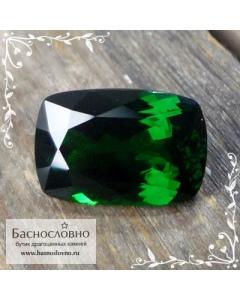 Сертифицированный натуральный насыщенно-зелёный цаворит (тсаворит) из Кении огранка подушка 12x8мм 4.48 карата (драгоценный камень)