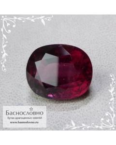 Сертифицированный красно-малиновый турмалин (рубеллит) из Мозамбика огранка овал 15x12мм 11,68 карата
