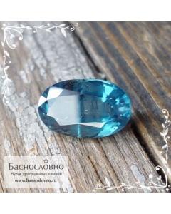 Сине-зелёный натуральный хромовый кианит (дистен) из Бразилии огранка овал 10,5x6,5мм 2.62 карата (драгоценный камень)