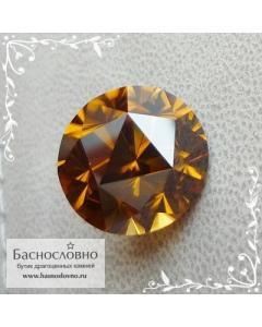 Натуральный оранжевато-золотистый циркон гиацинт из Танзании отличная огранка Баснословно Пион 12мм 11.68 карат (Драгоценный камень)