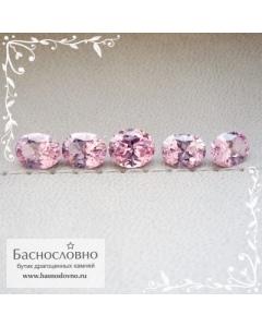 Гарнитур пять розовых шпинелей из Танзании (Тундуру) отличная огранка Баснословно овал 7x5мм 4.27 карат (Драгоценный камень)