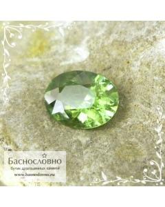 Натуральный зелёный демантоид (гранат андрадит) из Мадагаскара огранка 8x6мм 1.53 карат (Драгоценный камень)