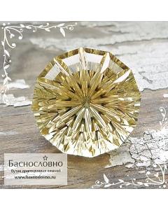Натуральный жёлтый цитрин из Бразилии отличной огранки Баснословно фантазийный круг 18мм 20.91 карата (драгоценный камень)