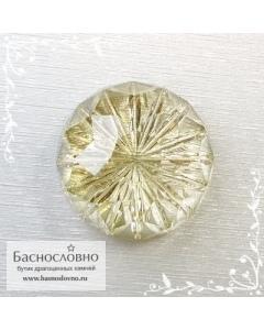 Натуральный жёлтый цитрин из Бразилии огранка Баснословно фантазийный орешек 20мм 26.65 карат (Драгоценный камень)