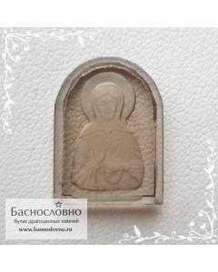 Резная икона святой блаженной Матроны Московской на натуральном дымчатом кварце (раухтопаз) работы в Баснословно 16x12мм (Драгоценный камень)