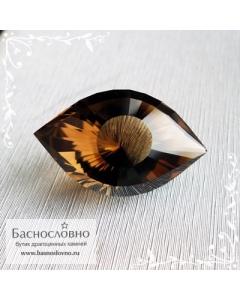 Натуральный тёмно-коричневый дымчатый кварц (раухтопаз) с Мадагаскара отличная огранка Глаз Клеопатры 18,99x11,7мм 10.62 карат (Драгоценный камень)