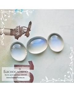 Гарнитур три натуральных лунных камня (адуляр) из Танзании с синей адуляресценцией огранка Баснословно овал кабошон 11,3×8,76 10,3×8,06 10,36×8,12мм 9,12 карат (Драгоценный камень)