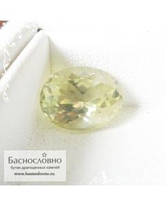 Натуральный желтовато-зелёный силлиманит из Шри-Ланки хорошая огранка овал 10,69x8,4мм 3.84 карата (Драгоценный камень)