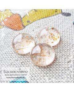 Гарнитур три натуральных солнечных камня (авантюриновый шпат) из Индии огранка круг кабошон 12мм 19.21 карат (Драгоценный камень)