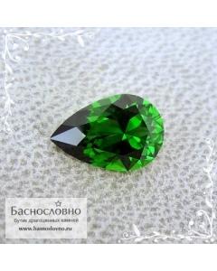 Ярко-зелёный хромтурмалин из Танзании огранки Баснословно груша 7,92x5,37мм 0,77 карата