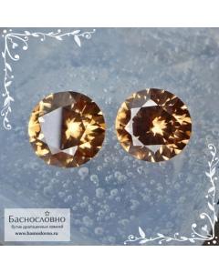 Пара натуральных золотистых цирконов (жаргон) со Шри-Ланки хорошей бриллиантовой огранки Кр57 8,1 и 8мм 5.9 карата (Драгоценный камень)