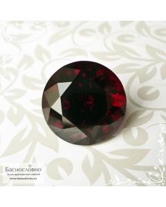 Натуральный тёмно-красный гранат пироп-альмандин из Мозамбика отличной огранки Баснословно круг 17,21мм 24.94 карат (Драгоценный камень)