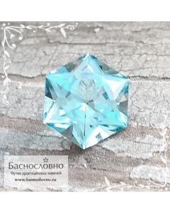 Натуральный небесно-голубой Топаз (оттенок Sky blue) из Бразилии огранка Баснословно Звезда Давида (Щит, Маген Давид) 15мм 12.01 карат (Драгоценный камень)