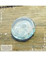 Резная Икона Казанской Божией Матери на небесно-голубом топазе работы в Баснословно круг 15мм (Драгоценный камень)