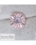 Натуральный пастельно-розовый кварц из Бразилии огранки в Баснословно фантазийный антик 10,05x10,04мм 4,36 карата (Драгоценный камень)