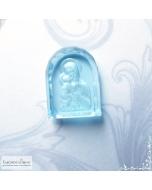 Резная Икона Владимирской Божией Матери на натуральном небесно-голубом топазе (оттенок sky blue) работы в Баснословно арка 16x12мм (драгоценный камень)