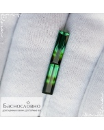Пара натуральных полихромных зелёно-болотных турмалинов из Бразилии огранки октагон 14,62×4,57 14,35×4,83мм 4,8 карат (драгоценный камень)