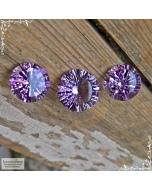 Гарнитур три натуральных аметиста из Бразилии хорошей огранки круг вогнутыми гранями 16мм и пара 14мм 31,15 карат (Драгоценный камень)