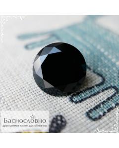 Натуральный чёрный турмалин (шерл) из России огранки в Баснословно бриллиантовый круг Кр57 16,1×16,06мм 14,15 карат (драгоценный камень)