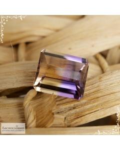 Натуральный аметрин из Боливии огранка октагон доска 13,74x11,8мм 8,72 карат (Драгоценный камень)