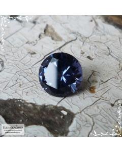 Синяя шпинель из Танзании (Тундуру) слабый александритовый эффект огранка в Баснословно бриллиантовый круг 6,07×6,01мм 0,88 карата