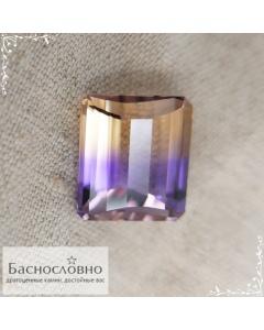 Натуральный аметрин из Боливии огранка октагон доска 13,82x11,89мм 9,31 карат (Драгоценный камень)