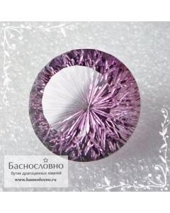 Розоватый аметист (оттенок Роза Франции) из Бразилии авторская огранка в Баснословно фантазийный круг 21мм 32.24 карата (Драгоценный камень)