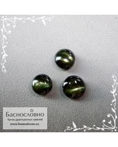 Гарнитур три тёмно-зелёных корнерупина со Шри-Ланки хорошей огранки круг кабошон 8мм 7,5мм 7мм 5,12 карат