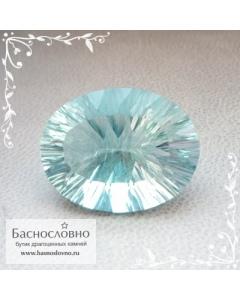 Неоновый зелёно-голубой флюорит (флуорит) из США огранка вогнутые грани (concave) 20×15мм 19,56 карат