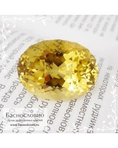 Ярко-жёлтый цитрин из Замбии огранка в Баснословно овал 26,3×19,6мм 41,92 карата