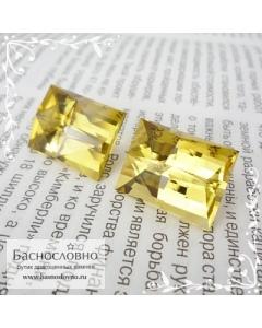 Пара ярко-жёлтых цитринов из Замбии огранка в Баснословно прямоугольник Компас 18,5×14мм 42,8 карата