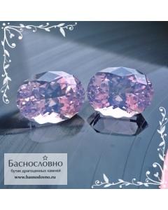 Пара лавандовых аметистов из Бразилии отличной огранки Баснословно овал 16x12мм 20.44 карат (Драгоценный камень)