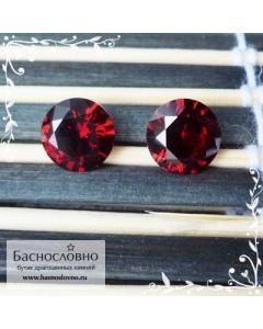 Пара насыщенно-красных гранатов (пироп-альмандин) из Мозамбика огранки Баснословно бриллиантовая круг 8,1 и 8,2мм 4,83 карат