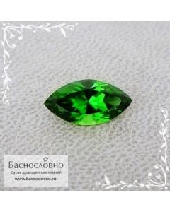 Ярко-зелёный хромтурмалин из Танзании огранки Баснословно маркиз 10,82x5,59мм 1,36 карата