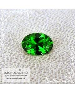 Натуральный ярко-зелёный хромтурмалин из Танзании отличной огранки Баснословно овал 7,31x5,3мм 0.76 карата (Драгоценный камень)