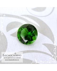 Ярко-зелёный хромтурмалин из Танзании огранки Баснословно круг бриллиантовый Кр57 4,96мм 0,44 карата