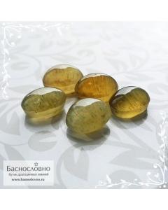 Гарнитур пять сертифицированных жёлто-зелёных апатитов с эффектом кошачьего глаза из Мадагаскара огранка овал кабошон 9х7мм 16 карат (Драгоценный камень)